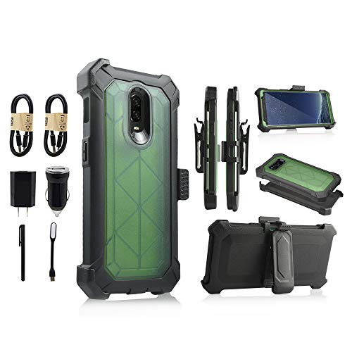 for OnePlus 6T Case, 6goodeals Built-in [Screen Protector] Heavy Duty Full-Body Rugged Holster Armor Case [Belt Swivel Clip][Kickstand] for 1+ 6T 2018 Release [Value Bundle] (Green)