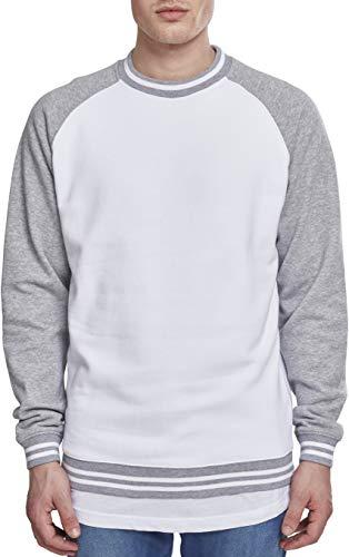 Urban Classics Herren Contrast College Crew Sweatshirt, Mehrfarbig (Wht/Gry 00230), L