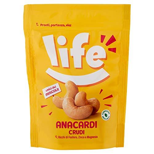 Life Anacardi Crudi 80G, Anacardi al Naturale, Frutta Secca, Snack Frutta Secca, Anacardi Snack, Fonte di Fosforo, Zinco e Magnesio, Anacardi Naturali per Funzione Muscolare