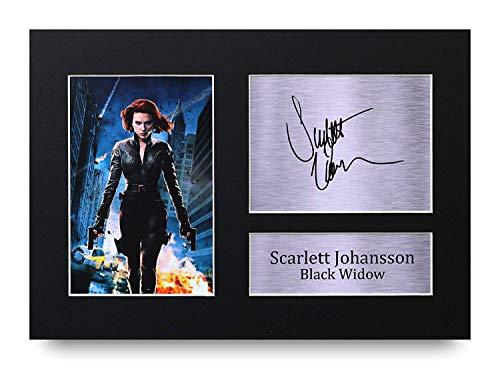 HWC Trading Scarlett Johansson A4 Unframed Signé Image Autographe Imprimé Impression Photo Cadeau D'Affichage pour Black Widow The Avengers Les Amateurs De Cinéma