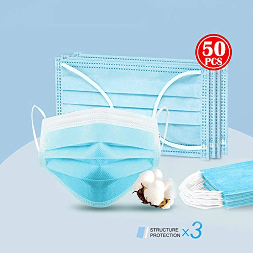 HCTX Disposable Three-Layer Breathing Filter, Dustproof Non-Woven Filter,Blue,50pcs