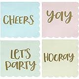 Juvale Cocktail Tovaglioli–Tovaglioli usa e getta 100-pack con bordi a smerlo, 4disegni assortiti lamina d' oro, blu pastello, rosa, verde e giallo, piegato 12,7x 12,7cm