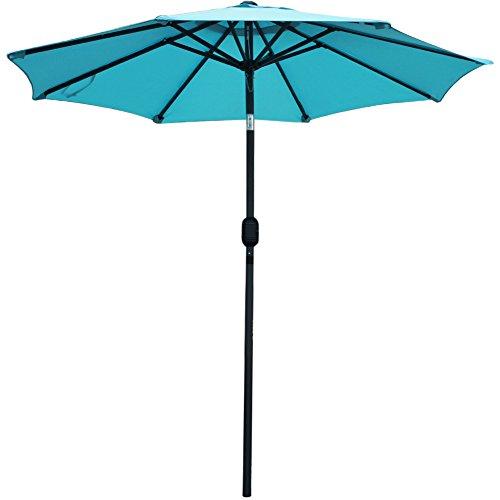 Snail 7.2 ft Aluminum Patio Umbrella Sun ray Water Resistant Small Table Deck Umbrella Outdoor Market Umbrella with Push Button Tilt/Crank, 8 Ribs, Light Blue