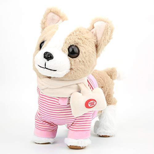 Simulatiehond, elektrische knuffel voor kinderen, loop- en zangsimulatiehond met hondenriem(Roze)