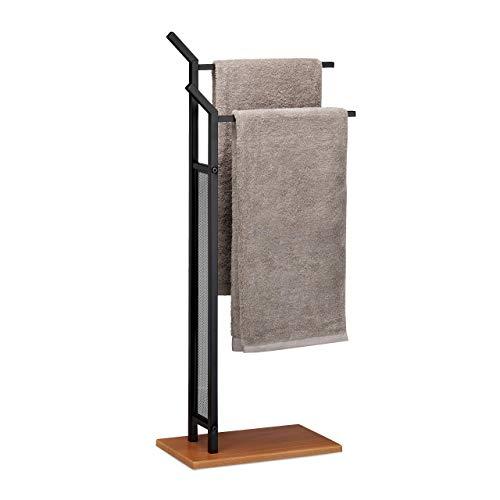 Relaxdays, schwarz Handtuchständer, 2 Stangen, Handtuchhalter stehend, Badetuchhalter ohne Bohren, HBT 88 x 40 x 20 cm