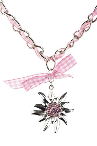 Trachtenkette Edelweiss mit Satinband Schleife und eleganten Gliedern Halskette für Dirndl und Lederhose (Rosa/Weiss)
