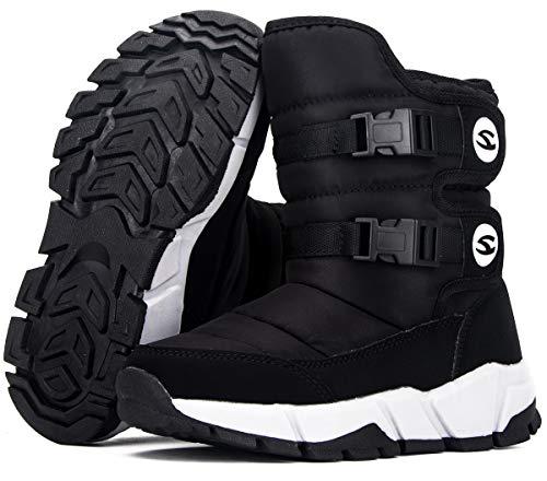 Botas de Nieve Niños Niñas Zapatos Invierno Antideslizante Forrada De Piel Zapatos Calientes Snow Boots 3719 Negro 32EU