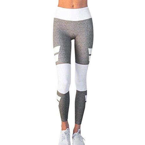 Damen Yogahose Mumuj Mode Grau Weiß Hohe Taille Yogahose Sportgymnastik Yoga Lauf Fitness Leggings Hosen Sportliche Hosen Trainingshose Pluderhose Pilates Hosen (Grau, L)
