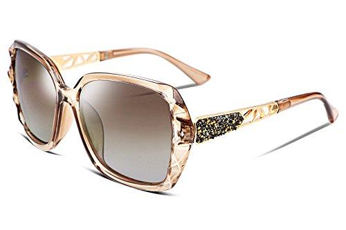 FEISEDY Übergroß Sonnenbrillen für Damen Polarisiert UV400 Schutz Mode Designer Sparkling Composite Großer Rahmen B2289