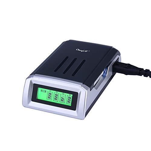 CkeyiN Universal Cargador ,Universal Cargador Rápido ,con 4 Ranura Independiente ,para Pila Recargable AA, AAA,Ni-MH,Ni-Cd Clase de eficiencia energética A++ /Negro