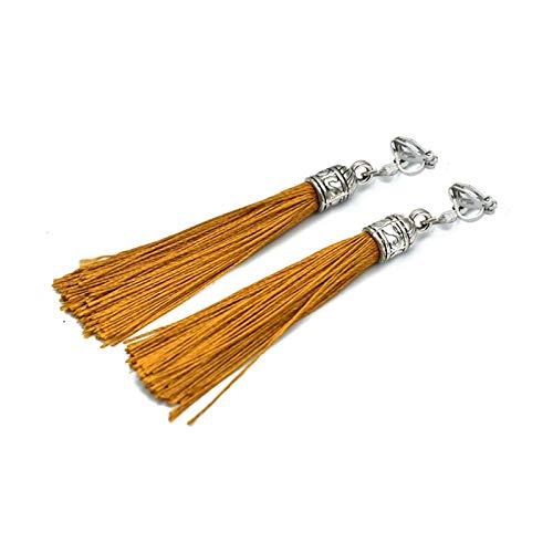 Pendientes De Borla De La Vendimia para Las Mujeres Antiguo Largo Oreja Clip Negro Tela De Seda Blanco Frandes Fringe Harpes (Metal Color : Color 18)