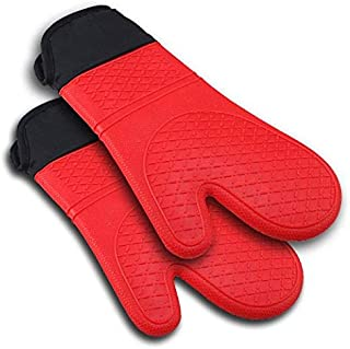 2pcs Red Silicone Kitchen Oven Mitt Glove Potholder with Extra Long Canvas Sleeve Stitching for Grilling and BBQ