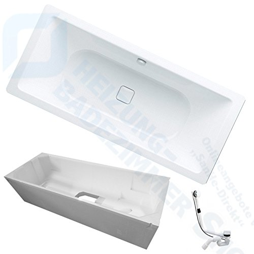 Kaldewei Conoduo Stahl Badewanne inkl. Wannenträger und Ablaufgarnitur (735 Badewanne 200/100 cm)