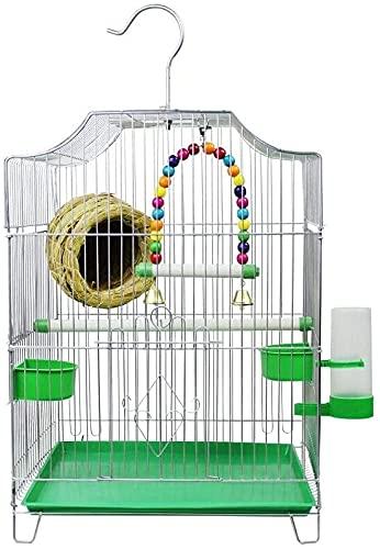 Jaula de pájaros de Parrot de vuelo grande para De Birdacages Suministros para mascotas La jaula de pájaros económicos de estilo de hogar viene con 2 tazones de alimentación y 1 fuente de beber Hundid