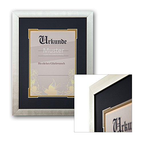 AlphaUVplus Urkunden Rahmen Saskia - für DIN A4 Dokumente - mit Doppel-Passepartout - Zierschnitt - hochwertiger PU Bilderrahmen - Zertifikat - Urkunde - Ehrung - Einrahmung - Rahmung