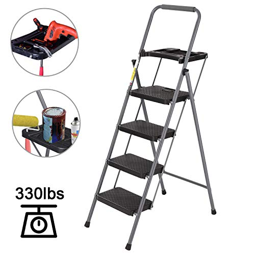 4 Step Ladder, CharaVector Lightweight Folding Step Stool with Tool Platform and Convenient Handgrip, Sturdy Wide Pedal for 330 lbs Capacity