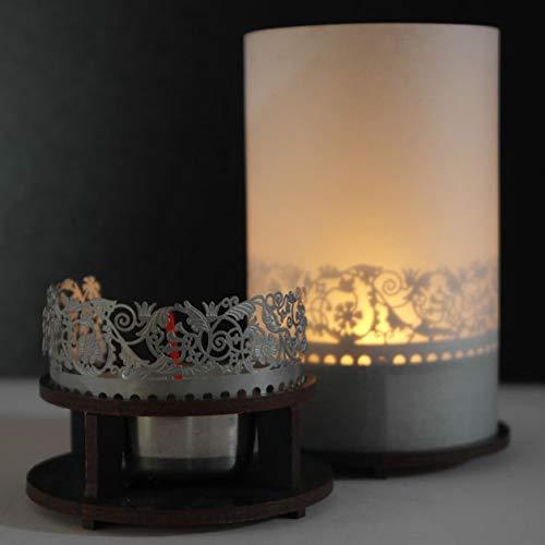 13gramm Ranken Windlicht Schattenspiel Premium Geschenk-Box, inkl. Kerzenhalter, Kerze, Projektionsschirm und Teelicht