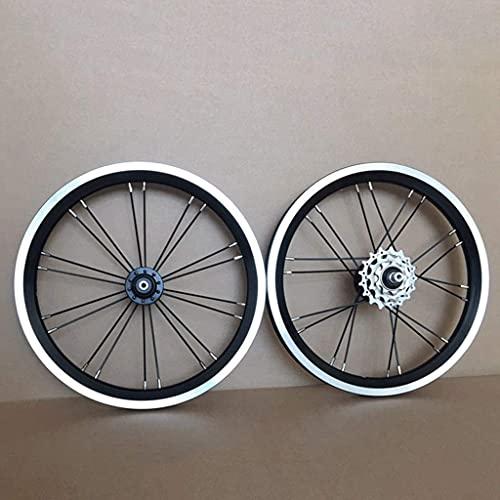 VTDOUQ Juego de Ruedas de Bicicleta BMX de 14 16 Pulgadas, Freno de llanta Rueda Delantera y Trasera de Bicicleta Plegable con piñón 9 13 17T, buje de rodamiento Sellado 940g