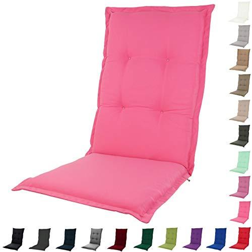 KOPU Auflage für Hochlehner Prisma Deep Pink | Polster für Gartenstühle | Rosa Garten Kissen 125 x 50 cm | 19 einfache Farben | Robuster...