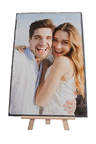 wandmotiv24 Ihr Foto auf Schieferplatte mit Staffelei - 1-teilig - Hochformat 20x30cm (BxH), Stein Bild gestalten, Schiefertafel, personalisierter Schiefer Fotogeschenke, Geschenk