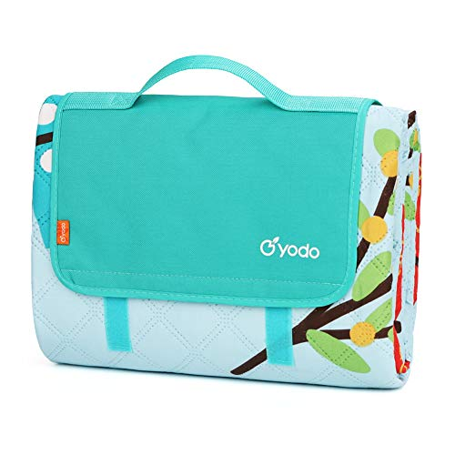 yodo Extra Large Machine Washable Picnic Blanket Tote 79 x 79 inches for Family Outdoor Camping Beach Hiking Festivals Concerts,Aqua