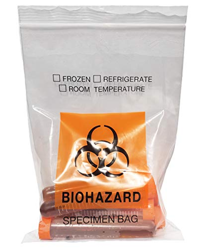 Daarcin 100pcs Biohazard Specimen Bags, 6x9.8in/15x25cm Laboratory Sample Bag with Biohazard Logo Printing, Ziplock Top with Outside Pocket Paperwork Pouch