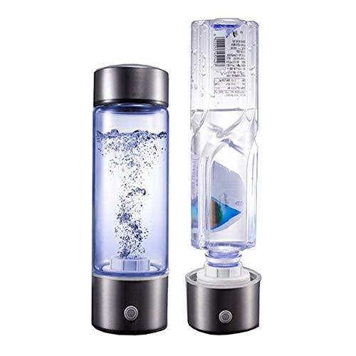 Botella Rico De Hidrógeno agua portátil Generador Tecnología SPE Modo Ionizador 5 minutos de Alta Concentración Descarga de ozono y cloro 430ml, para deportes, camping,430ml