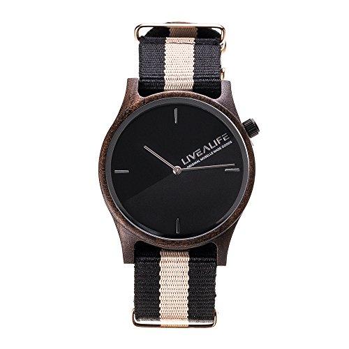 LIVEALIFE Unisex Holzuhr Armbanduhr Quarz Holz Uhrwerk Wechselband Nylon schwarz braun minmalistisches Design silber Damen Herren 38mm Uhr