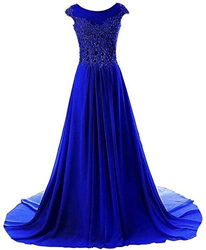 Abendkleider Ballkleider Brautjungfernkleid Hochzeitskleider Lang Chiffon A Linie Königsblau EUR40