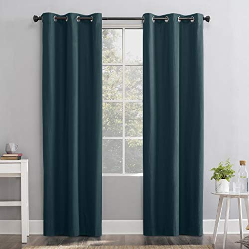 Sun Zero Cyrus Thermal 100% Blackout Grommet Curtain Panel, 40' x 63', Teal