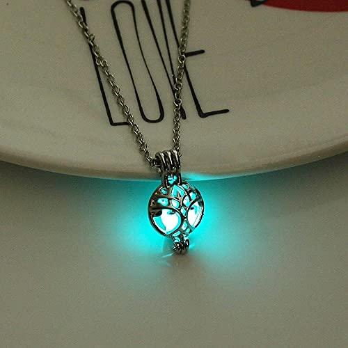 YQMR Collares Luminoso Colgante,Señoras Azul Verde Colgante Luminoso Moda De Plata Ahueca hacia Fuera El Collar De La Bola Diseño De La Cadena Joyería Mujeres El Día De Cumplea