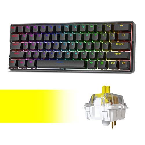KEMOVE Shadow Wireless 60% Mechanical Gaming Keyboard, Bluetooth 5.1 Hot Swappable Keyboard RGB Backlit PBT Keycaps Full Keys Programmable (Gateron Yellow Switch)