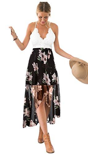 Blooming Jelly Damska sukienka z głębokim V asymetryczna sukienka w kwiaty z koronką