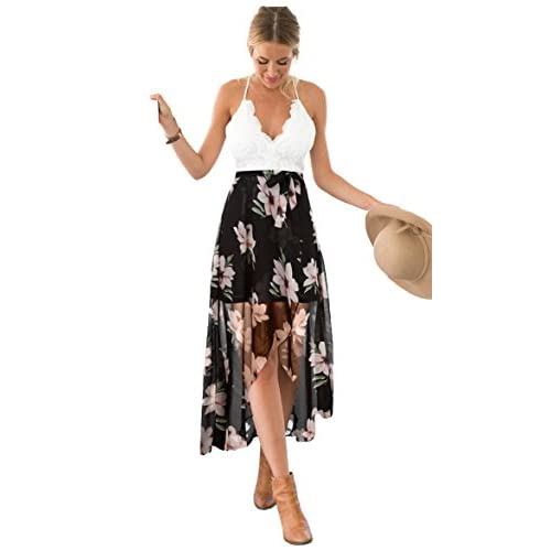Blooming Jelly Women's Halter Neck Deep V Asymmetrical Floral Dress Lace Summer Maxi Dress