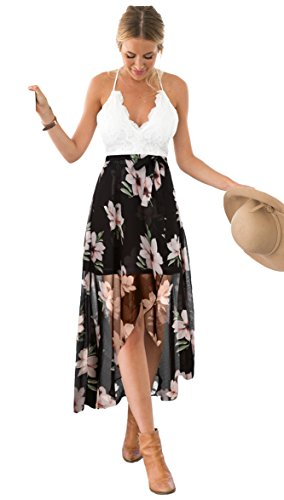 Blooming Jelly Women's Deep V Neck Sleeveless Summer High Low Floral Lace Chiffon Maxi