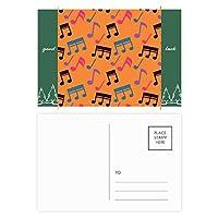 カラフルな音楽のメモオレンジ グッドラック・ポストカードセットのカードを郵送側20個