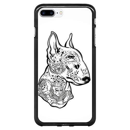 BJJ SHOP Custodia Nera per [ iPhone 7 Plus/iPhone 8 Plus ], Cover in Silicone Flessibile TPU, Design: Tatuato Bull Terrier, Bianco e Nero