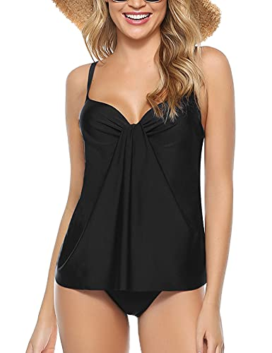 Akalnny Tankini Costume da Bagno Donna a Due Pezzi Sexy Canotta Drappeggiata + Slip Bikini(Nero, XL)