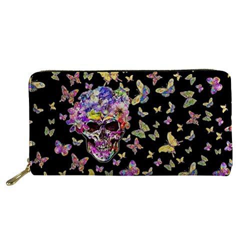 COEQINE Fashionable Women Travel Long Wallet Coin Purse Clutch Cell Phone Case Stylish Skull Head Purse Card Holder