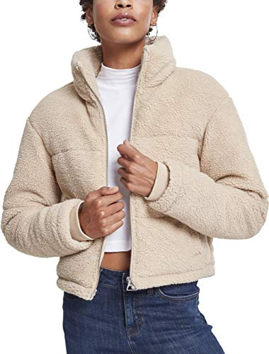Urban Classics Damen Ladies Boxy Sherpa Puffer Jacket Jacke, Braun (Darksand 00806), Medium