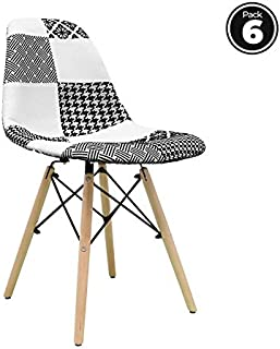 regalosMiguel - Packs Sillas - Pack 6 Sillas Tower Patchwork - Patchwork Blanco y Negro