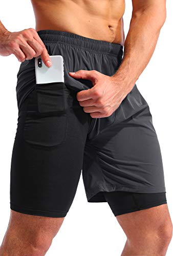 """Pudolla Men's 2 in 1 Running Shorts 7"""" Quick Dry Gym Athletic Workout Shorts for Men with Phone Pockets(Dark Grey Large)"""