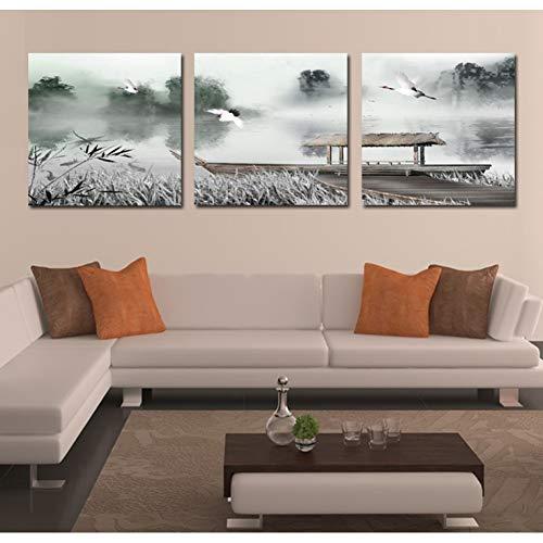GYSS 3 panelen prachtig schilderij op canvas traditioneel met vogels en olieverfschilderijen van de boten