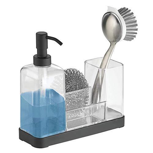 mDesign Seifenspender aus Silikon und Glas, Halter für Schwamm, Topfschwamm, Abwaschbürste für die Küche - Durchsichtig/Mattschwarz