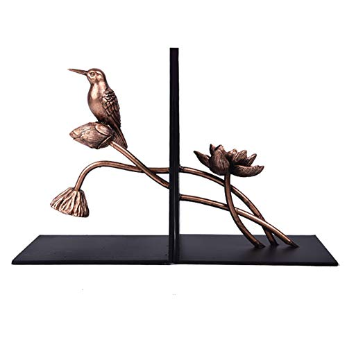 Trycooling Metal Bookends/Bookshelf Bookends,Creative Lotus and Bird Modeling,Suitable for Decoration Study,Bedroom,Office