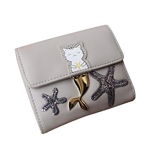 QIANHEDAMAI Mode Vrouwen portemonnee Cartoon Korte portemonnee Cat Print Meisjes Tri-Fold Hasp Portemonnee Pailletten Ster Met Card Slots Casual Money Bag