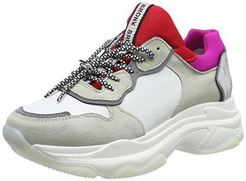 Bronx Damen Baisley Sneaker, Weiß (White/Red/Fuchsia 2298), 36 EU