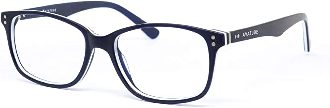 AVATUDE Blue Light Computer Glasses - Ryland Design. Hard Case Included! (0.00 magnification) (Matte Navy)