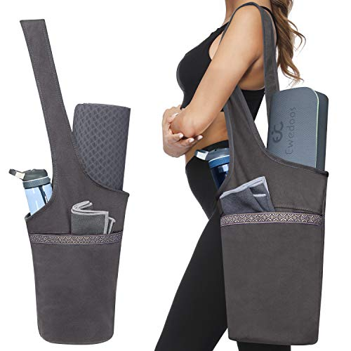 Ewedoos Yoga Mat Bag with Large Size Pocket and Zipper Pocket, Fit Most Size Mats (Gray)