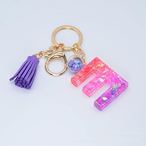 SZLGPJ Resina Glitter Carta Llavero Borla Colgante púrpura Epoxy Palabra Inglesa Llavero Colgante de Bolsa de Coche Femenino cm E
